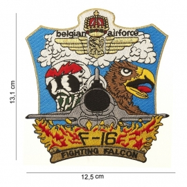 "Embleem stof ""Belgian airforce F-16 (havik)"" 13,1 X 12,5 "" cm."""