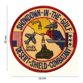 Embleem stof Showdown in the Gulf Desert Shield 10 cm. rond