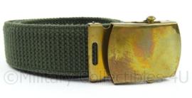 KL Nederlandse leger broekriem webbing met gouden slot  91 cm - groen - gebruikt - origineel