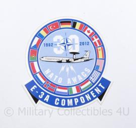 KLU Koninklijke Luchtmacht sticker 30 jaar E-3A Component NATO AWACS 1982-2012 - 10 x 10,5 cm - origineel