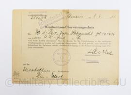 Wo2 Duits document Krankenhaus uberweisungsschein 1944 - ingevuld - origineel