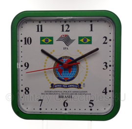International Police Association Brasil klok - 22 x 22 x 4,5 cm - origineel