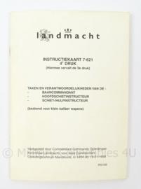 KL Landmacht Instructiekaart Baancommandant en Schietinstructeur - IK7- 621 - afmeting 10 x 15 cm - origineel