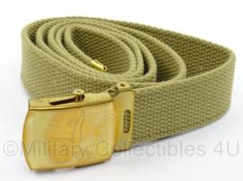KL Landmacht khaki broekriem met gouden slot en gravure Luchtmobiele Brigade - lengte 124 cm - origineel