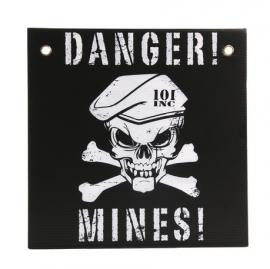 """Plaat """"Danger! Mines!"""" - 30x30 cm. - zwart / wit"""