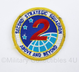 USAF US Air Force Luchtmacht embleem Second Strategic Squadron Above and Beyond 2D Bombardement Squadron - met klittenband - diameter 8 cm - origineel