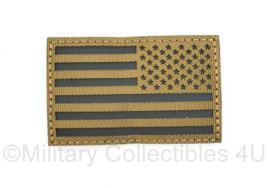 Amerikaanse leger infrarood patch - Coyote - met klittenband - Amerikaanse vlag Reversed  - 5 x 8 cm