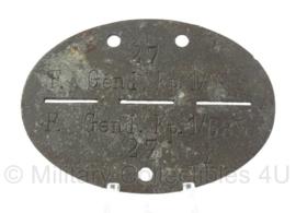 WO2 Duitse erkennungsmarke - Feldgendarmerie - Kompanie 1 van 685 Regiment - persoonsnummer 27 - origineel
