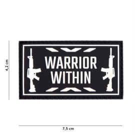 Embleem 3D PVC WARRIOR WITHIN - zwart/wit - 7,4 x 4,1 cm