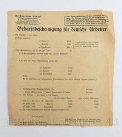 WO2 Duits document Bedarfsbescheinigung fur Deutsche Arbeiter met tekening van Officier er op - 23 x 21 cm - origineel