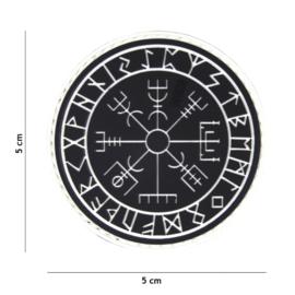 Embleem PVC 3D PVC met klittenband  -Protect Shield Zwart / Wit - 5 x 5 cm.