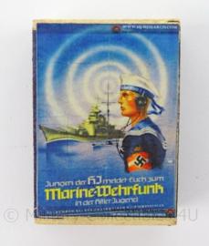 WO2 Duits luciferdoosje van echt hout - Hitlerjugend Marine Wehrfunk - afmeting 6 x 4 cm - replica