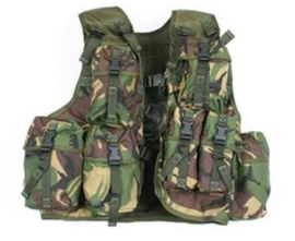 Britse Leger tactical PLCE vest met tassen DPM camo DPM OPS Vest Assault Vest DPM PLCE Tactical General Purpose Operational Assault Ops Vest Rig - origineel