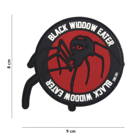 Embleem 3D PVC met klittenband - Black Widdow Eater - 9 x 8 cm.