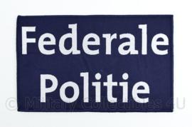"""Belgische donkerblauwe Politie Police embleem rugstrook """"Federale Politie""""- met klittenband - 24,5 x 15 cm"""