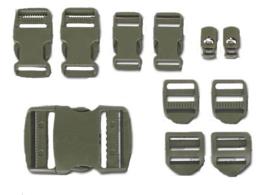 Gespen set - 10 stuks - groen - voor rugzakken