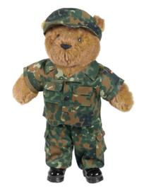 Teddybeer groot 50cm met Flecktarn camo uniform