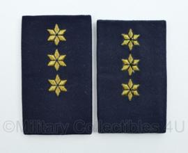 KMAR Marechausssee epauletten rang Kapitein donkerblauw - 5 x 9 cm - origineel