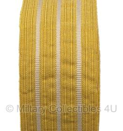 Marine mouwband  62mm breed - 2 meter lang - Kolonel - goud met 3 witte lijnen