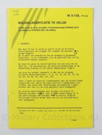KL Landmacht Instructiekaart Brugclassificatie te velde - IK 5-130 - afmeting 12,5 x 14 cm - origineel