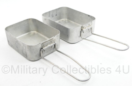 MVO en Britse leger aluminium etensblik PAAR Brits MMS 1946 - 18 x 13 x 6 cm - origineel