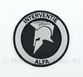"""Nederlandse Politie """"Interventie Alfa"""" embleem - met klittenband - diameter 9 cm"""
