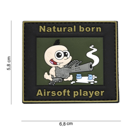 Embleem Natural Born airsoft player -  Klittenband - 3D PVC - 6,8 x 5,8  cm
