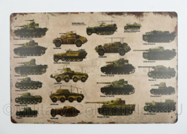 Nieuw gemaakte metalen plaat WO2 Duitse voertuigen en tanks  - 30 x 20 cm - nieuw