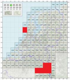 KL Nederlandse leger topografische stafkaart 1:50000 - nr. 64 t/m 69 - op rol - 60 x 60 cm - origineel