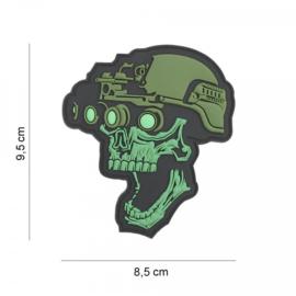 Embleem Night Vision Skull - groen - met klittenband - 3D PVC - 9,5 x 8,5 cm