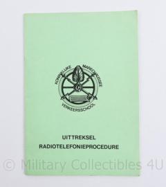 Kmar Marechaussee uittreksel radiotelefonieprocedure 1978 - 21 x 15 cm - origineel