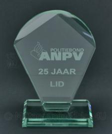 Politiebond ANPV 25 jaar lid  glazen bureau decoratie - 17,5 x 11 x 6 cm - origineel