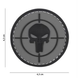 Embleem 3D PVC met klittenband - Punisher Vizier - grijs - 4,3 cm. diameter