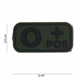 Embleem Bloedgroep O+ positief - GROEN / ZWART- Klittenband - 3D PVC - 5 x 2,5 cm.