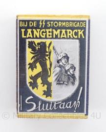 WO2 Duits luciferdoosje van echt hout - SS Stormbrigade Langemarck - afmeting 6 x 4 cm - replica