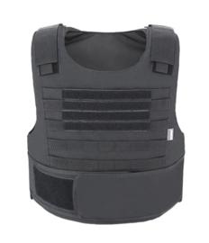 NL Politie DSI Speciale Eenheden ZWART universeel kogelwerende vest hoes zonder ballistische inhoud - XS t/m XXL - met klittenband voor tekststrook voor EN achter - replica