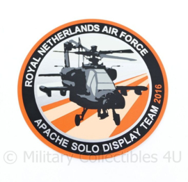 KLU Royal Netherlands Air Force Apache Solo Display Team 2016 sticker - diameter 10 cm - origineel