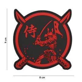 Embleem 3D PVC Samurai Warrior Red/Black  - met klittenband- 9 x 8 cm.
