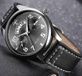 Pilot watch - horloge met ZWARTE band