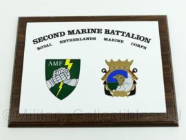 Korps Mariniers wandbord - AMF Second Marine Battalion - Royal Netherlands Marine Corps - afmeting 23 x 31 x 1,5 cm - origineel