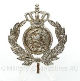 KMAR Koninklijke Marechaussee officier pet embleem - vorig model DT - zeldzaam geheel zilver - 5 x 5 cm - origineel