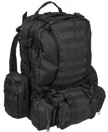 Defense pack MOLLE ZWART - formaat aanpasbaar aan iedere situatie! - met afneembare tassen