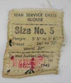 WO2 Brits label War Service dress blouse 1945  - origineel