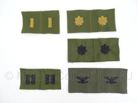 US Army Officier rangen voor op de kraag - groen - verschillende rangen - per PAAR