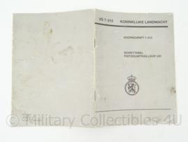 KL Schiettabel PistoolMitrailleur Uzi VS 7-313 Handboekje - origineel