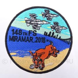 "US Miramar 2018 Missie embleem ""148th FS Fighter Squadron"" - met klittenband - diameter 10 cm"