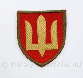 Camouflage Ukrainian Army patch emblem Flag Cossack Sables Yellow on Red - met klittenband  - 8,5 x 7 cm - origineel