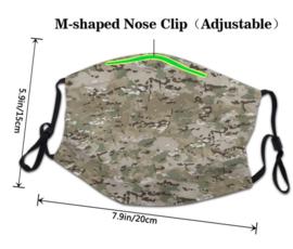 Herbruikbaar en wasbaar mondkapje - 3-lagen - met neusklem en oor elastiek - Multicam
