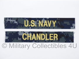 US Navy NWU 1 branch tape/naamlint SET - serie The last ship 'Chandler' - nieuw gemaakt