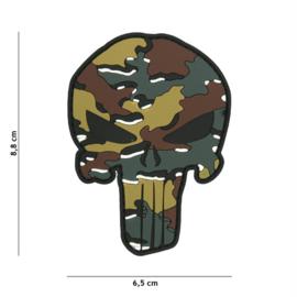 Embleem 3D PVC met klittenband - Punisher BELGISCH CAMO - 8,8 x 6,5 cm.